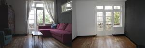 Ruimte die tevoorschijn komt. Links een ingerichte kamer in een woning, rechts de lege ruimte.